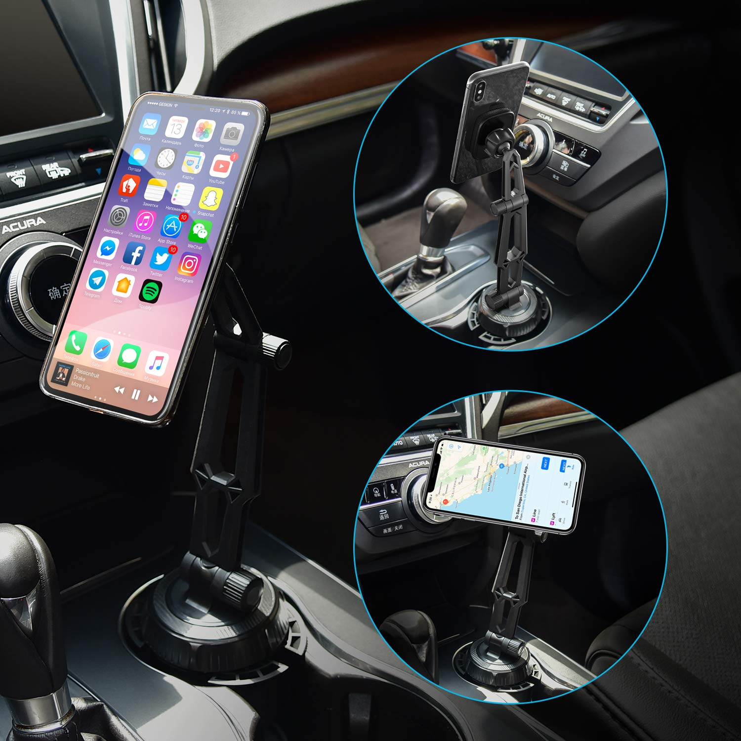 Magically Adjustable Automobile Cup Holder For Cell Phones